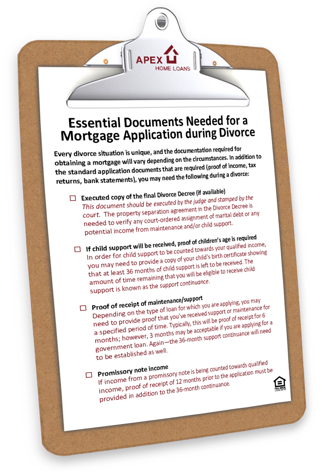 Documents Needed for a Mortgage Application during Divorce