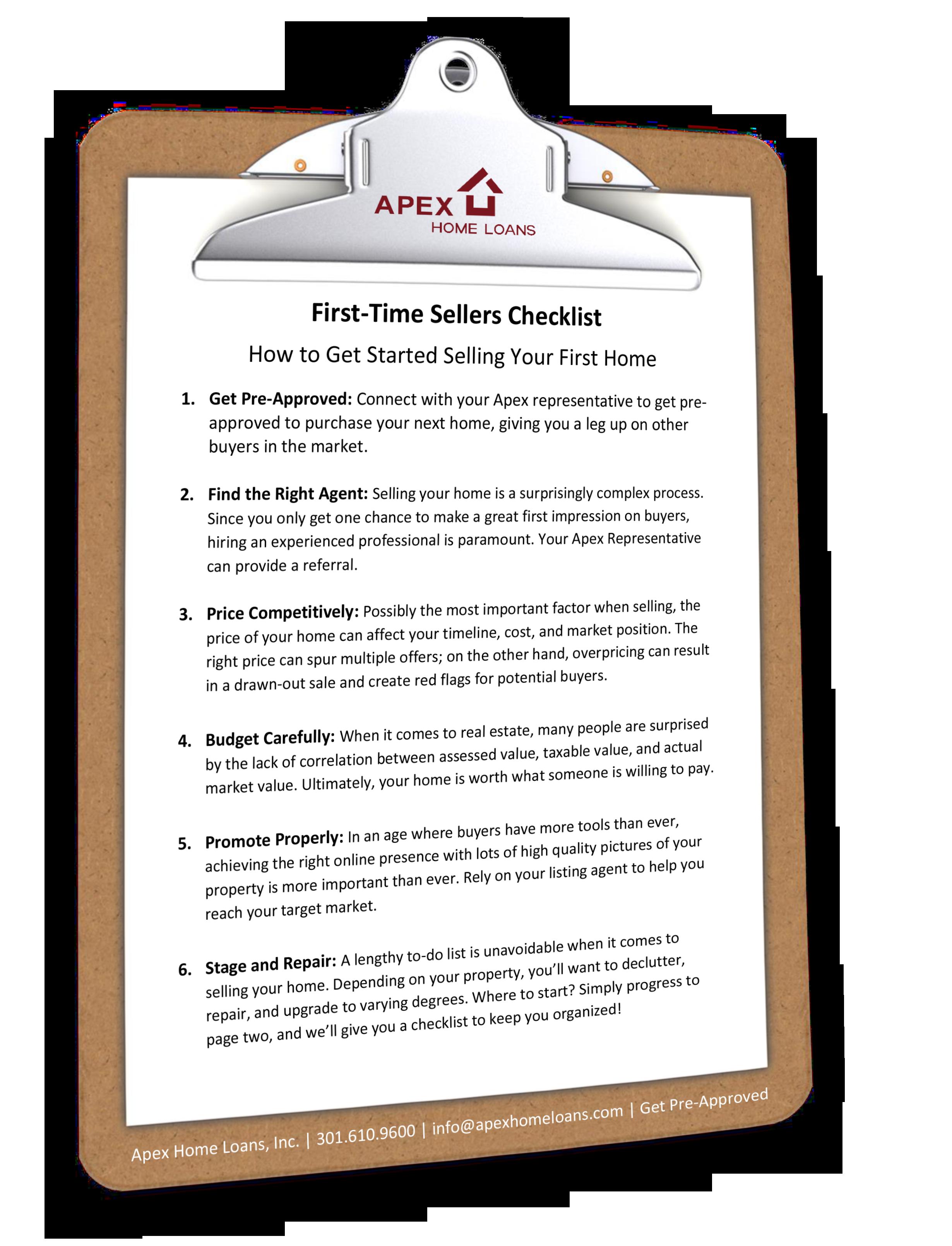 First-Time Seller Checklist